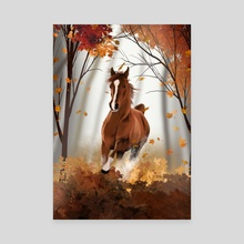 Brown Horse - Canvas by Michael Bartlett
