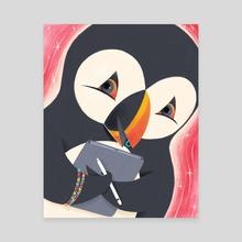 Artsy Puffin - Canvas by Danette Byatt