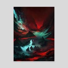 Red Cave - Canvas by Anton Medvedkov