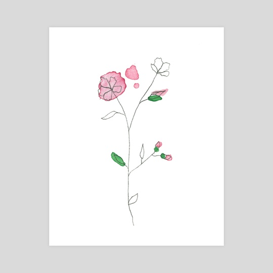 Small Watercolor Flower In Pink by Tiny Ears