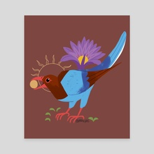 Familiar: Sri Lanka Blue Magpie - Canvas by Reimena Yee