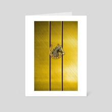 Golden Lucky Shoehorse - Art Card by Vidka Art