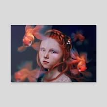 Goldfish Girl - Acrylic by Sue Anna Joe