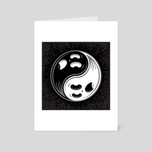 Ghost Yin Yang Black and White - Art Card by John Schwegel