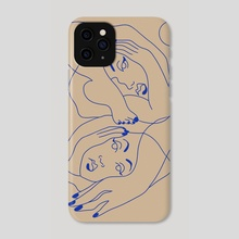 Sheltering Together (in blue) - Phone Case by Amber Morgan
