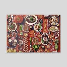Feast - Acrylic by Maria Titan