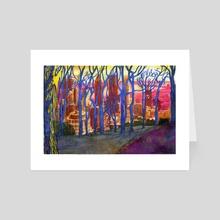 Montreal from Mont Royal through Winter Trees - Art Card by Karolina Szablewska