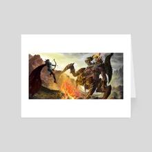 Sylvanas vs Azmodan in dark desert - Art Card by Julien Séror