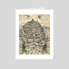 Legend of the Five Rings - Peaceful Hill City - Art Card by Francesca Baerald