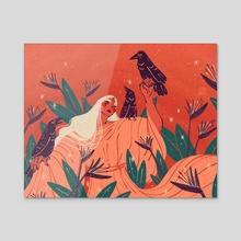 Birds of Paradise - Acrylic by Alex Gold