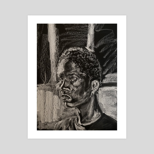 Black and white charcoal portrait  by Kaylen Griffin
