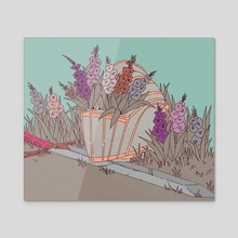 Gladiolus  - Acrylic by Elisa Jaramillo
