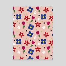 Floral spring pattern - Canvas by Kenya Aguirre