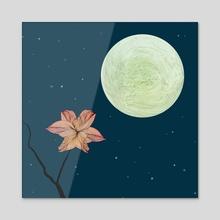 Moonlit flower - Acrylic by Brontosaurus Art