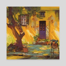 Yellow Cafe in the sun - Canvas by Tommy Kim
