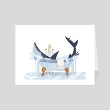 Shark in the Tub! - Art Card by Katharine Henry