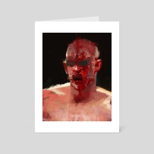 Boxing man with blood painting - Art Card by Christian Muller