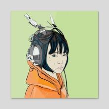 Radio - Acrylic by Karin Obojkovits