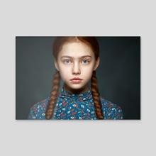Young girl - Acrylic by Alexander Vinogradov
