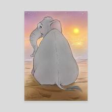 "Elephant at Sunset - Canvas by Leslie ""Wren"" Vandever"