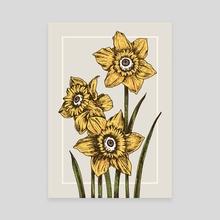 Daffodil Flower - Canvas by Kay Ann