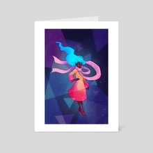 Floating Space Woman - Art Card by Lauren Rowlands