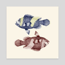 pisces fishes - Canvas by ANA MARTÍNEZ