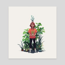 Girl and Plants - Canvas by Heather Penn