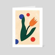 Abstract Tulip Flower, Floral Botanical, Scandi Art Print, Minimal Flower - Art Card by Ariani Anwar