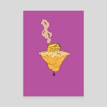 Purple Yellow Complimentary Island - Canvas by oxart
