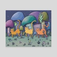 Three Midnight Cats - Canvas by Alma