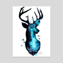 Milky Way Deer Silhouette with Crystals - Canvas by Addison Kanoelani