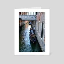 Gondolier, Venice - Art Card by Liora Bronshtein