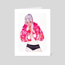 Pink jacket - Art Card by Mashiiro