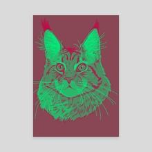 Green cat - Canvas by AzaharaHime