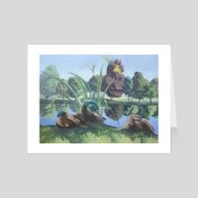 Ducks at the Public Gardens - Art Card by Alex King