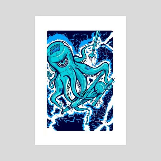 """Sandy"" Electric Octopus Squid Nautical Print by matt schnepf"