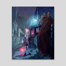Night walk - Acrylic by Rina Maruyama