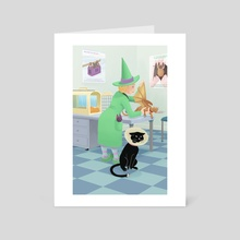 Visit to the vet - Art Card by Valériane Duvivier