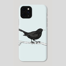 Blackbird pen drawing - Phone Case by Bianca Wisseloo