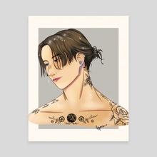 Jungkook Long Hair - Canvas by Vaporame