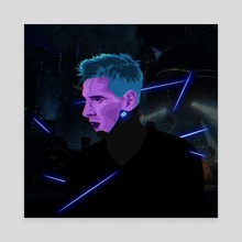 Lionel Messi Cyberpunk - Canvas by Kazi Sakib