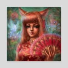 Celestial Foxie Japanese Style - Canvas by Aurora Borealis