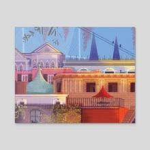 Savannah Houses - Acrylic by Anabella Ortiz