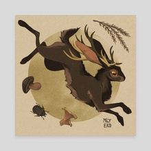 leaping jackalope - Canvas by mlyeko