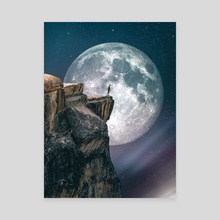 Man In Front Of Big Moon - Canvas by 016 Graphics
