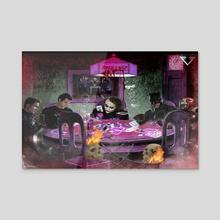 Poker Night  - Acrylic by Samuel Iniguez