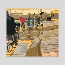 Cyclists of Amsterdam - Amsterdam Amsteldijk - Canvas by Monique Wijbrands