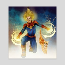 Captain Marvel & Goose - Canvas by Rebecca Andrews