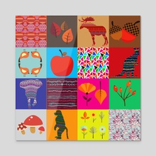 Graphic patchwork 9 - Acrylic by Michal Eyal